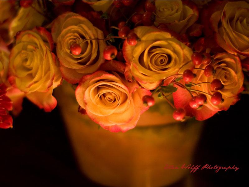 romantic floral arrangements on the escort table