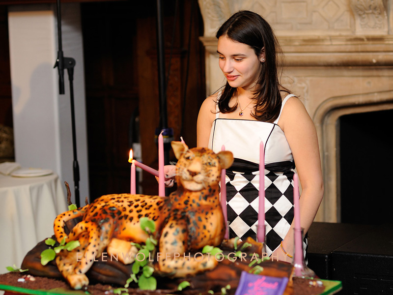 lighting the first candle on the Bat mitzvah cake