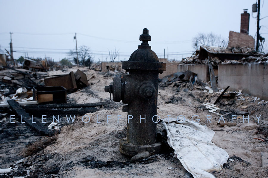 a fire hydrant at the site of the massive fire during Hurricane Sandy