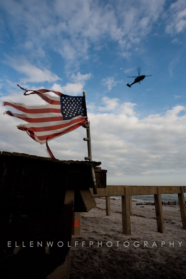 the American Flag flyiong in Rockaway Beach NY after Hurricane Sandy