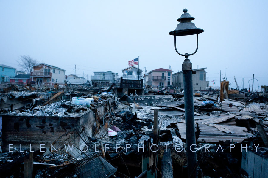 the site of the massive fire during Hurricane Sandy