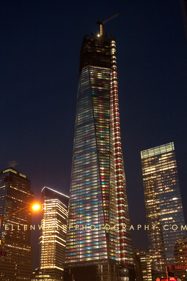 The Trade Center NYC with special colored lights for the 2012 holiday season