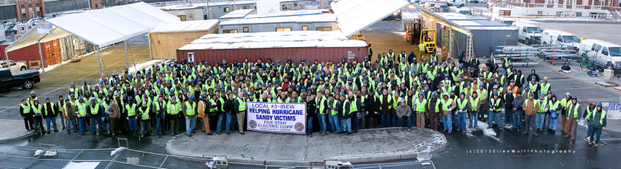 Local #3 IBEW - Five Star Electric Corp. helping Sandy victims -  gathered at Floyd Bennett Field