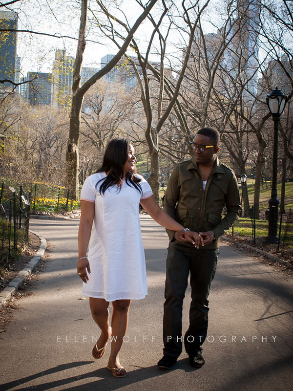 engagement portraits walking in Central Park