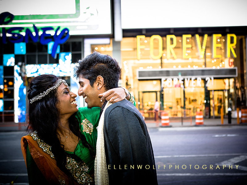 engagement portrait in Times Square NYC