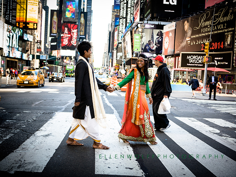 engagement photo in Times Square NYC