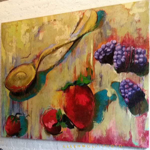Maggie Zox Brown fruit painting with a spoon