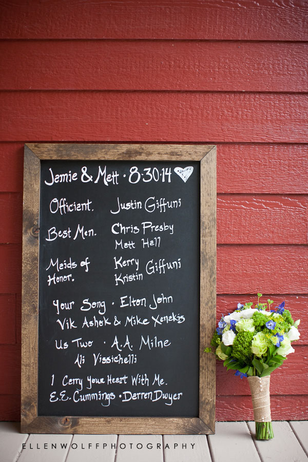 wedding party list on chalkboard