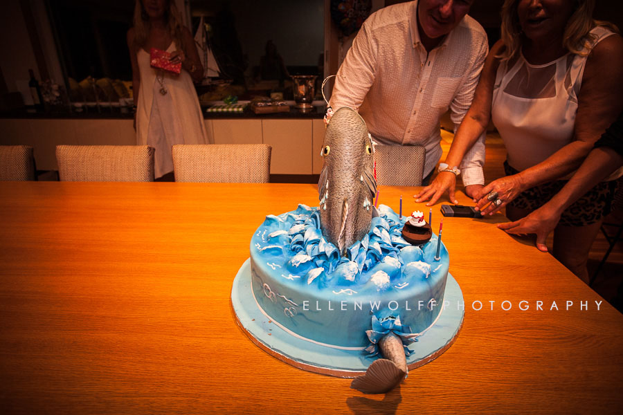 wonderful birthday cake of a fish tail detail