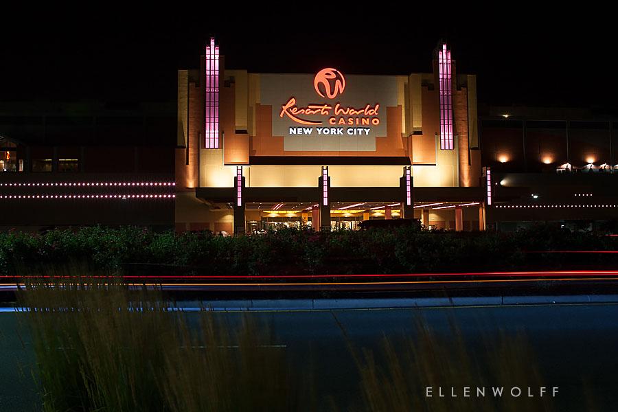 The Racino. Resorts World NYC Casino at night.