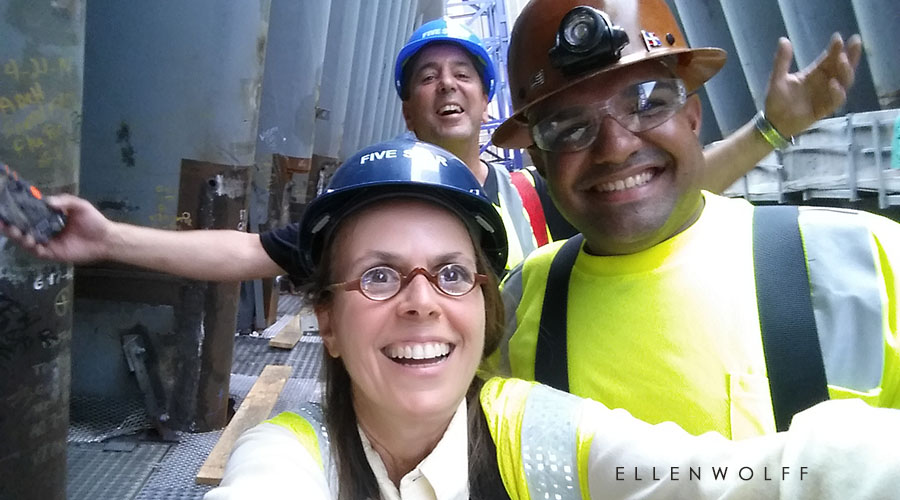 With Willy and Peter my climbing guides to the top of the Occulus at Fulton Street.