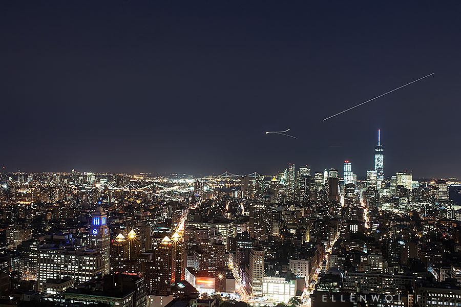 Downtown Manhattan at night photographed from One Madison