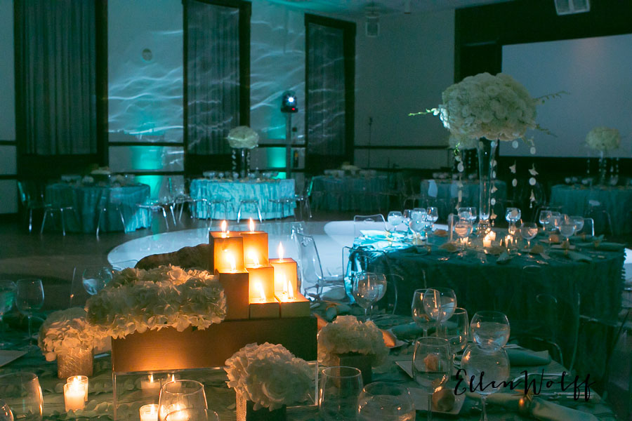 The white, round dance floor was enhanced by blue waves of light