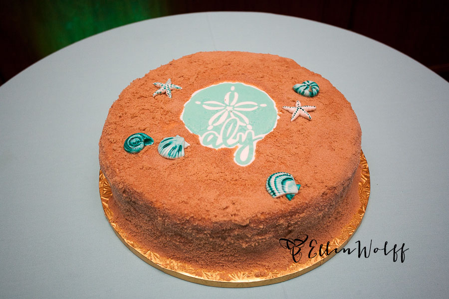 Brown sugar, sand covered Bat Mitzvah cake